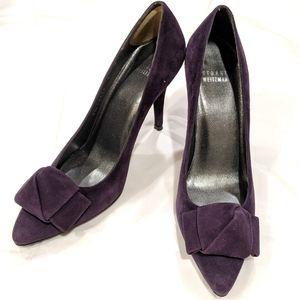 Stuart Weitzman purple suede knot tied now heels 8